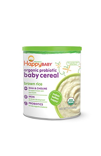 Happy Baby Organic Probiotic Baby Cereal with DHA & Choline, Brown Rice, 7-Ounce Canisters...