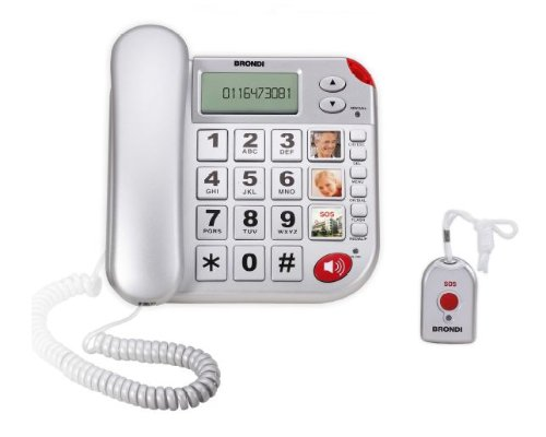Brondi Super Bravo Plus - Teléfono fijo con dispositivo de llamada de emergencia, color plateado