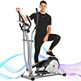 ANCHEER Elliptical Machine, Magnetic Elliptical Exercise Training Machine with LCD Monitor, Quiet and Smooth Move,Top Levels Elliptical Machine Trainer for Home Gym Office Workout (Gray)