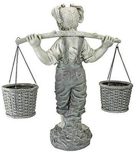 ZSMLB Adorno de Escultura, Esculturas de jardín de niña pequeña, Estatua de jardín al Aire Libre de niña pequeña, Flores Figura de Piedra de Dos Tonos para Interior y Exterior Decoración de ja