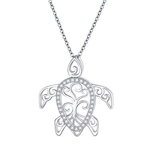 925 Sterling Silver Turtle Charm Tree of Life Tortoise Animal Pnednat Necklace Jewellery for Women