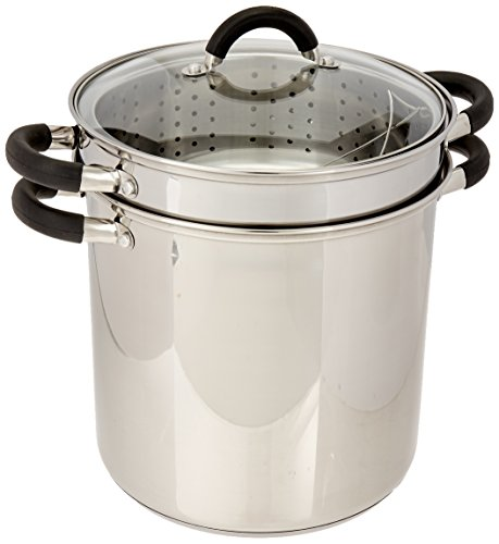 ExcelSteel 12 Qt Multifunction Stainless Steel Pasta Cooker with Encapsulated Base, Vented Glass Lid, and Riveted Silicone Covered Handles