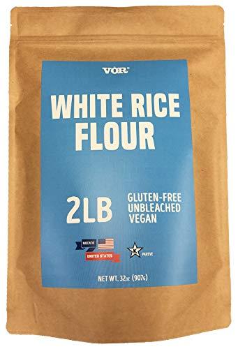 Vor White Rice Flour (2 Pounds) | Gluten Free | Unbleached | Vegan | Flour Alternative