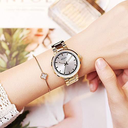 TCEPFS Relojes de Mujer Impermeable Negocio Oro Acero Inoxidable Señoras Reloj de...