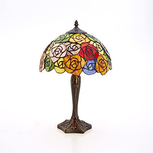 Lieto ステンドグラス ランプ スタンドランプ ローズ 薔薇 カラフル 高さ45cm LED電球付き ガラス アンティーク 照明