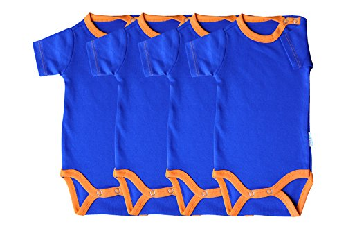 Princess Taufkleid Kurzarm Baby Body 4er Pack blau/orange Grösse 56 Unisex 100% Baumwolle