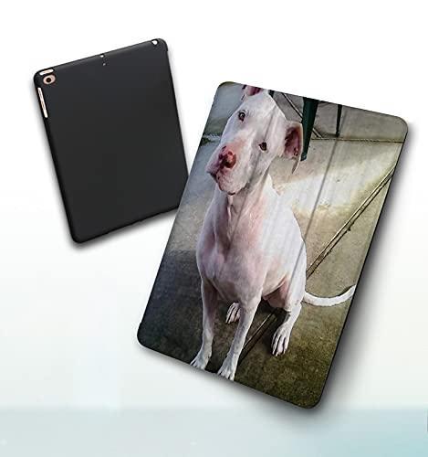 Funda para iPad 9,7 Pulgadas, 2018/2017 Modelo, 6ª / 5ª generación,American Pitbull Terrier Blanco Blanco Pit-Bull Smart Leather Stand Cover with Auto Wake/Sleep