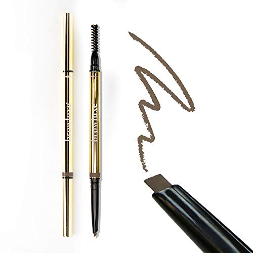 Browluxe Precision Brow Pencil for Microblading Effect | Taupe Eyebrow Pencil for Blondes | Brow Pencil with Brush | Smudge Proof Eyebrow Color