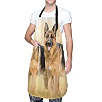KAPANOU エプロン、犬かわいいジャーマンシェパード警察犬、おしゃれ スタイリッシュ 無地 ポケット付 男女兼用 シンプルデザイン 仕事用 家庭用 カフェ用 保育士用 しわになりにくい