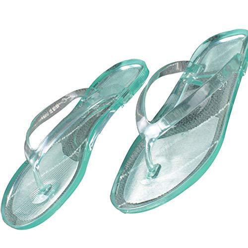 Frauen Flip-Flops Sommer-Strand-Gelee-Flip-Flops Anti-Rutsch-Wohnung Slippers Transparent Outdoor Indoor Pool Badeschuhe (Grün)