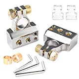MNJ Motor Car Battery Terminal Connectors Kit - 2/4/8/10 AWG Battery Car Audio Positive Negative Battery Post Connectors Clamp w/2 Clear Covers Shims for Car,Auto,Caravan,MarineBoat,Motorhome (Pair)