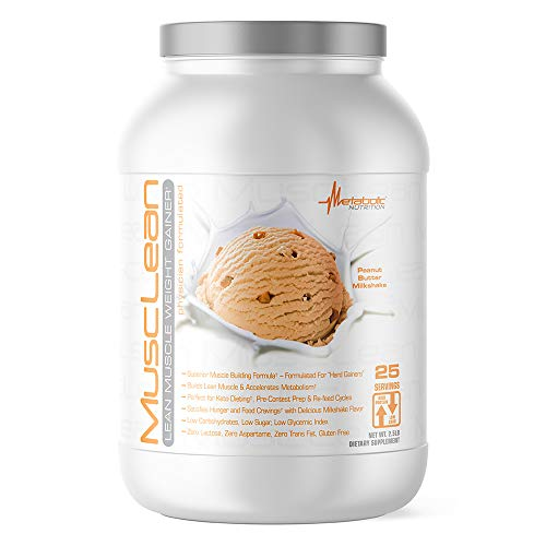 Metabolic Nutrition - Musclean - Milkshake Weight Gainer, Whey High Protein Meal Replacement, Maintenance Nutrition, Low Carb, Keto Diet, Digestive Enzymes, Peanut Butter, 2.5 Pound (25 ser)