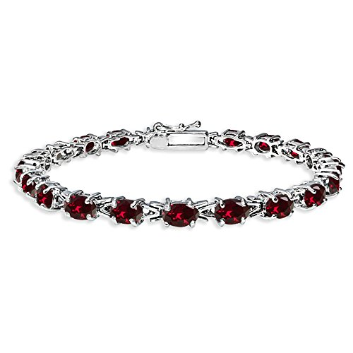 Sterling Silver Polished Synthetic Ruby 6x4mm Oval-cut Link Tennis Bracelet