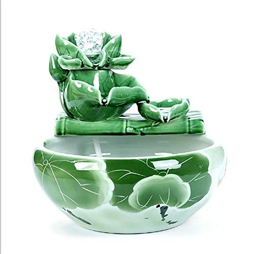 Wasdop kamerfontein, elektrische luchtbevochtiger, sieraden, Feng Shui eenvoudige installatie, relax-effect, waterpomp, glazen bol, spuitfles (32 x 32 cm)