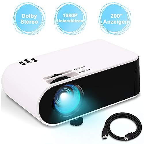 Mini Beamer, WayGoal Native 720P und Full HD 1080P Unterstützung, tragbarer Heimkino Projektor, 4800 Lumen und 50000 Stunden Lebensdauer, Kompatibel mit USB / HD / ST/ AV / VGA/IOS/Android