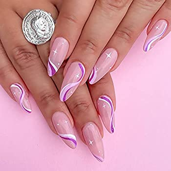KXAMELIE Medium Length Stiletto Press On Nails Full Cover Artificial Acrylic Almond Shape with Purple White Strip Pattern Design Fake Nails