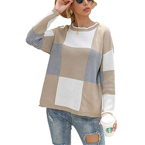 ZFQQ Autumn and Winter Women's Color Matching Checkered Round Neck Pullover Knit top Khaki