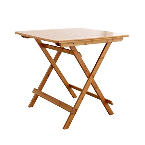WTT klaptafel tuintafel eettafel en eenvoudig thuis draagbaar van bamboe vierkant klein 4 personen eettafel kleine tafel bamboe (kleur: bruin)