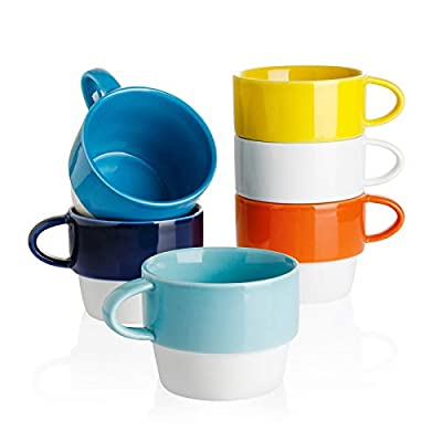 Sweese 411.002 Porcelain Cappuccino Cups - Stackable Coffee Cups - 6 Ounce for Specialty Coffee Drinks, Cappuccino, Mocha and Tea - Set of 6, Hot Assorted Colors