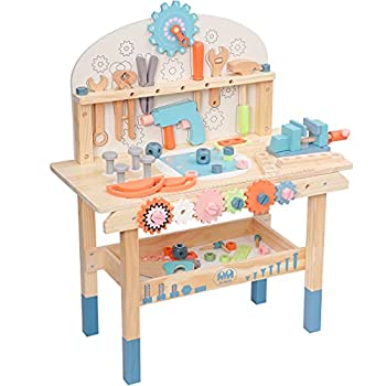 ROBUD Large Wooden Play Tool Workbench Set for Kids Toddlers Construction Workshop Tool Bench Toys Gift