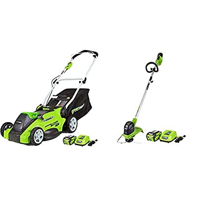 Greenworks G-MAX 40V 16'' Cordless Lawn Mower with 4Ah Battery - 25322 Model & 12-Inch 40V G-MAX Cordless String Trimmer, 4Ah Battery and Charger Included ST40B410