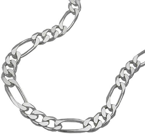 Unbespeeld ketting halsketting zilveren ketting 925 zilver dames Figaro-ketting 6 x gediamanteerd voor vrouwen lengte 55 x 0,5 x 0,13 cm hanger zilver