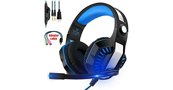 RONSHIN Gaming Headset G2000 with Adapter MIC LED Stereo Headphones for PC Laptop
