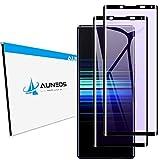 【目に優しい】AUNEOS Xperia 5 II 用フィルム ブルーライトカット 3D 日本旭硝子素材 炭素繊維 Xperia5 II SOG02 用 ガラスフィルム ケースに対応 硬度9H 指紋防止 貼り付け簡単 エクスペリア5 II 用 液晶保護フィルム(ブルーライトカット黒2枚)
