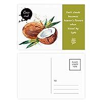 ココナッツフルーツのおいしい健康的な水彩画 詩のポストカードセットサンクスカード郵送側20個