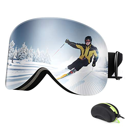 BFULL Ski Goggles Magnetic Interchangeable Dual Lens for Men Women and...