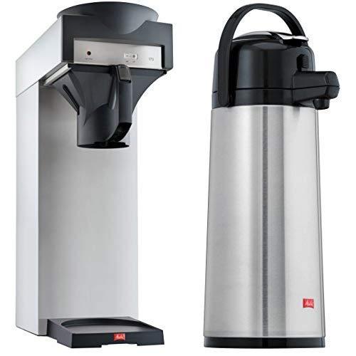 Melitta Filterkaffeemaschine für Isolierkannen, 170 MT, Edelstahl/Schwarz & Pump-Isolierkanne, 2,2 l, ca. 18 Tassen, Edelstahlkolben, Edelstahl, Silber/Schwarz