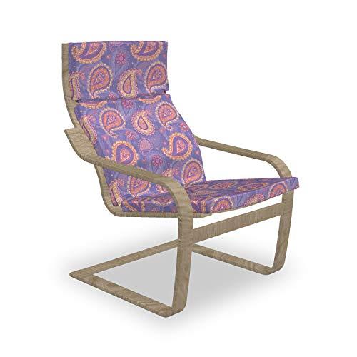 ABAKUHAUS Ethnisch Poäng Sessel Polster, Boho Paisley Persisch, Sitzkissen mit Stuhlkissen mit Hakenschlaufe und Reißverschluss, Lavendel-Pfirsich-Creme