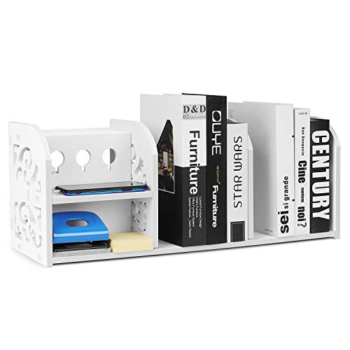 Estante organizador de escritorio Flexzion para oficina, escuela, accesorios de escritorio y espacio de trabajo, plataforma de exhibición, estante de madera de plástico compuesto (blanco)