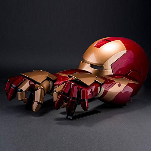 Action Figures 1/1 Iron Man Arm Helm Rüstung Avengers Illuminating Reality Wearable Cosplay Anime Requisiten Spielzeug Modell Dekoration Geschenke Helmet + Left and Right arms