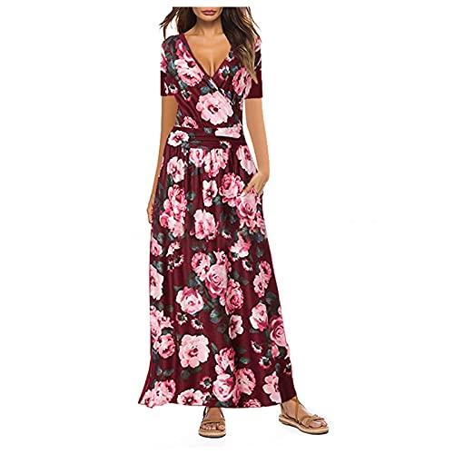 XWANG Vestido de verano para mujer, estilo informal, holgado, manga corta, con bolsillo, cuello en V, línea A, vestido de fiesta, vestido de playa 59-rojo S