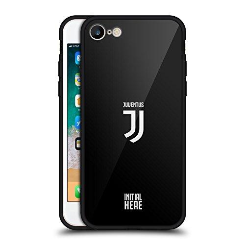 Head Case Designs Licenza Ufficiale Personalizzata Personale Juventus Football Club Cresta Semplice Cover Nera Ibrida in Vetro Compatibile con Apple iPhone 7 / iPhone 8 / iPhone SE 2020