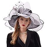 Go Mai Women Kentucky Derby Hat Organza Hats Two Wear Ways,Hat Flower Can Be Used As a Headwear, Black White, One Size