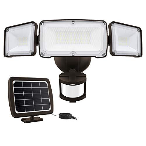 LEPOWER 1600LM LED Solar Security Lights Motion Outdoor, Solar Motion Sensor Light, 5500K White Light, IP65 Waterproof Outdoor Flood Solar Light with 3 Adjustable Heads for Yard, Garage