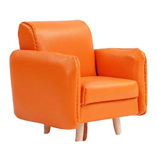 Yiifunglong Dollhouse 1/12 casa de muñecas miniatura sofá individual muebles de casa juego modelo juguete ornamento - naranja