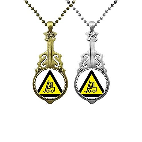 Warnsymbol Gelbe schwarze Gabelstapler Dreieck Liebhaber Musik Gitarre Anhänger Schmuck Halskette Anhänger