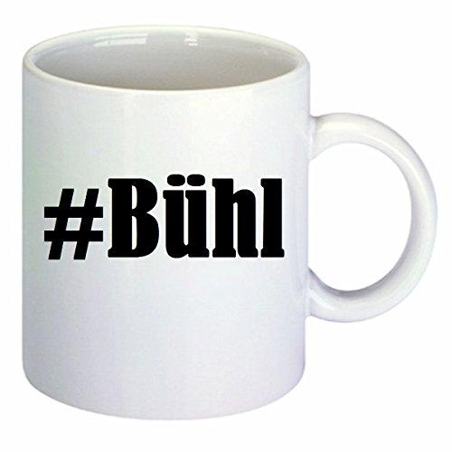 Kaffeetasse #Bühl Hashtag Raute Keramik Höhe 9,5cm ? 8cm in Weiß