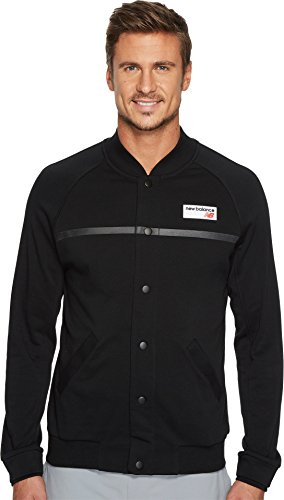 New Balance Men's NB Athletics Snap Front Fleece Jacket, Black, M