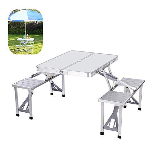Folding plakken Tabel Utility Tafel voor otdoor Garden Park Camping Party Picnic, Schraag Picknickstoel Bureau met Yard Umbrella geïnstalleerd Hole,Silver