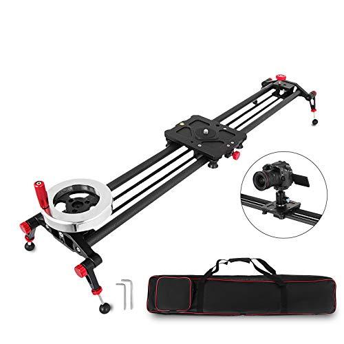 FlowerW 80cm Kamera Track Slider Rail mit Griff Schwungrad Gegengewicht Kohlefaserschienen 50KG Kapazität Video Stabilizer Dolly für DSLR-Camcorder DV Film Stabilization Track