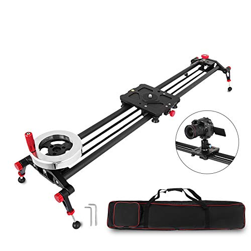 FlowerW Camera Track Slider Rail met handgreep, draaiwiel, tegengewicht, koolstofvezelrails, 50 kg capaciteit, videostabilizer, Dolly voor DSLR-camcorder, DV-film, stabilisatietrack