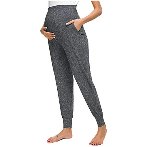 LowProfile Maternity Leggings Pants for Women Pockets Comfortable Soft Stretchy Lounge Pants Pregnant Casual Trousers Dark Gray