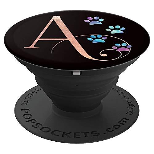 Buchstabe A Katze Hund Aquarell Tier Pfote Monogramm - PopSockets Ausziehbarer Sockel und Griff für Smartphones und Tablets