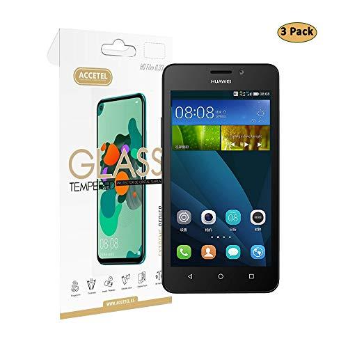Accetel Protector de Pantalla para Huawei Y635 [3 Pack], Protector Cristal Templado de [2.5D Borde Redondo] [9H Dureza] [Anti-Huella] [0,33mm] [Alta Definicion] Protege tu Huawei Y635