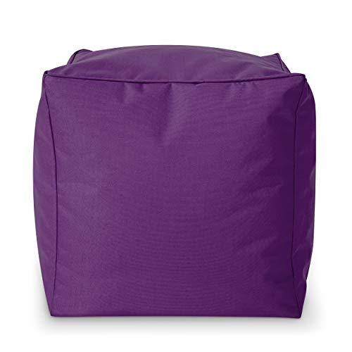 Green Bean Outdoor © Square Dice Sitzsack-Hocker - 40x40x40 cm - Indoor & Outdoor - schmutzabweisend, waschbar - Fußhocker, Sitzwürfel, Bodenkissen - für Kinder & Erwachsene - Lila