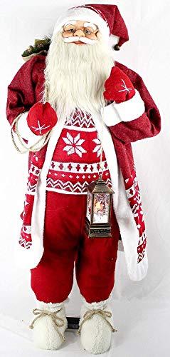 vom Pullach Hof Weihnachtsmann ca. 120cm Weihnachtsmänner mit Laterne oder mit Teddy Weihnachten Deko Figur Teddybär Nikolaus Santa Claus (Xaver)